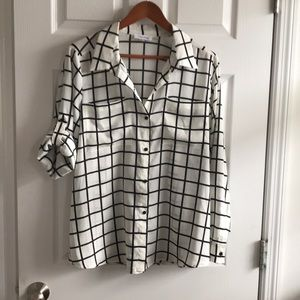 Black/white windowpane blouse
